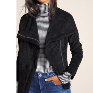 NWT Anthropologie Irina Black Sueded Moto Jacket S